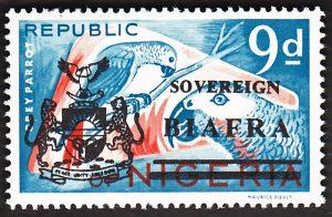 biafra stamps 9d grey parrot