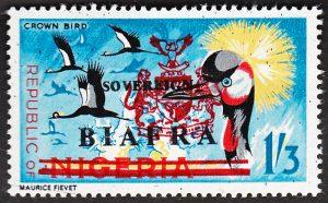 biafra stamps 1/3d crown bird