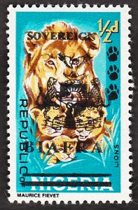 biafra stamps 1/2d lions