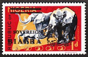 biafra stamps 1d elephants